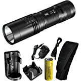 Nitecore R40 1000 Lumen Inductive Rechargeable LED Flashlight with Wall Mount and Desktop Charging Cradle, Lumen Tactical Adapter and USB Cable