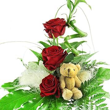 Blumenstrauss Geburtstag Glucksbambus Und Rosen Amazon De Garten