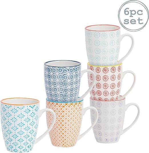 Taza de desayuno estampada - 6 diseños diferentes - 360 ml - Pack ...