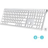iClever Ultra-Slim 2.4G Wireless Bluetooth and USB Multi Device Keyboard for Mac, iPad, iPhone, Windows, Android, iOS (Silver)