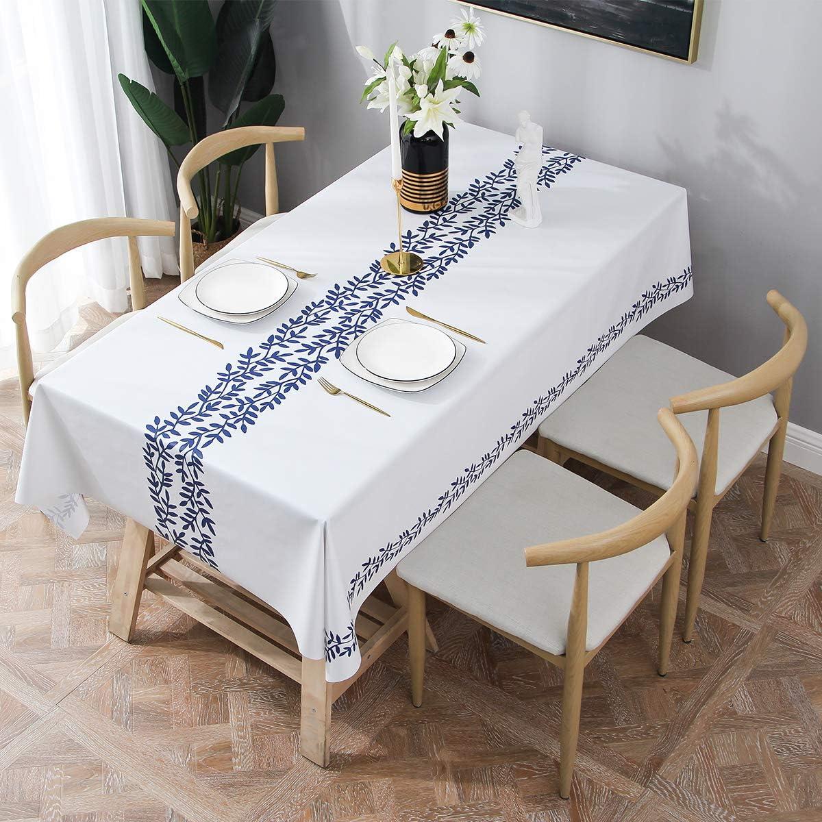 Essort Rectangle Mantel para Mesa PVC Hule Mantel Cuadrado para Comedor, Impermeable y Prueba de Aceite Vid Azul 137 x 185 cm