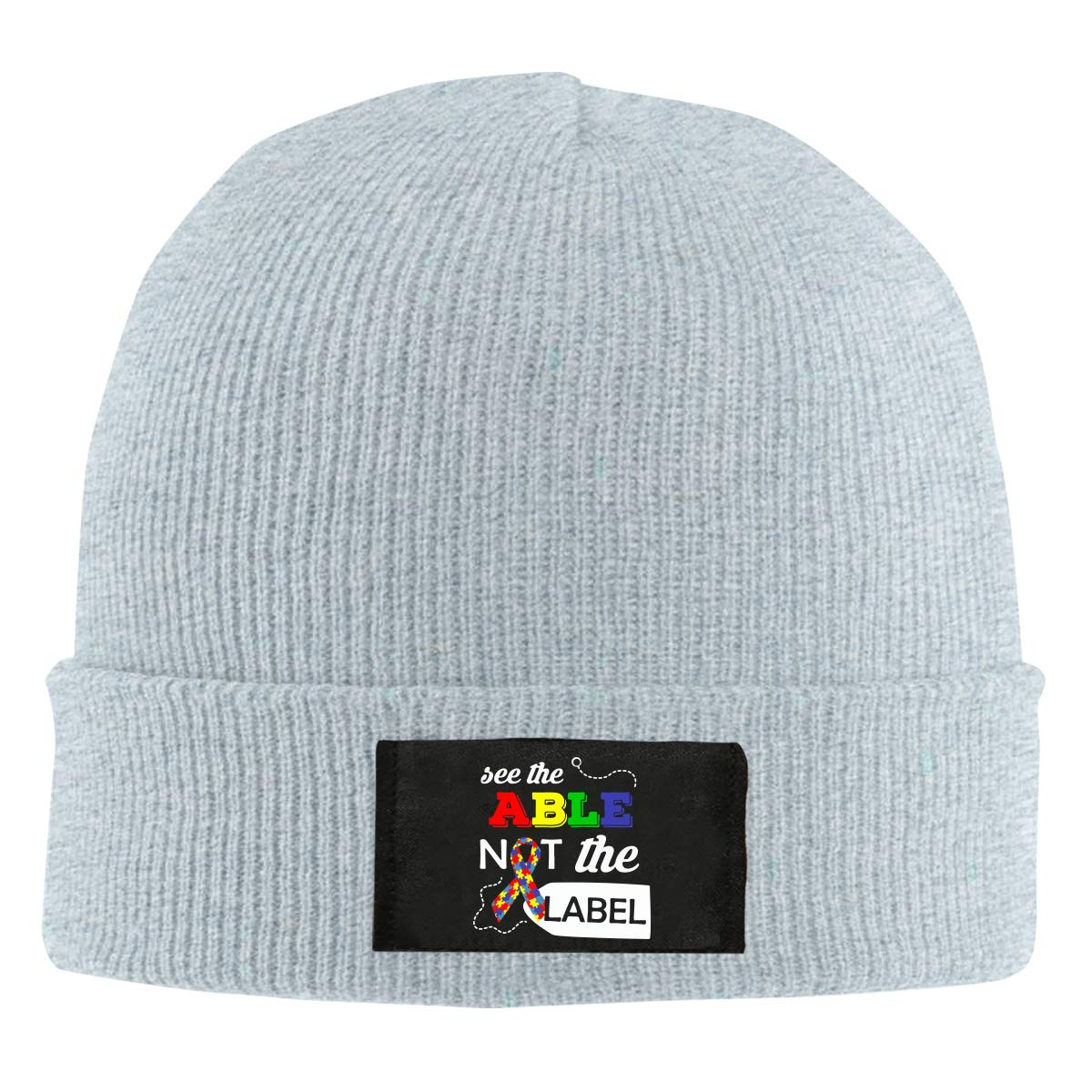 Unisex See The Able Not The Label Autism Awareness Knitted Cap 100/% Acrylic Warm Beanies Cap