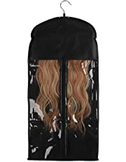 Beauty7 Lint Free Fabrics Wigs Virgin Hair Wefts Clip In Hair Extensions Storage Bag Protector Case With Wooden Hanger Anti-Seize Zipper Clear Window
