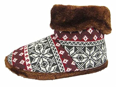 New Mens Cooler Brand Fairisle Print Warm Plush Fur Lined Slipper Boot