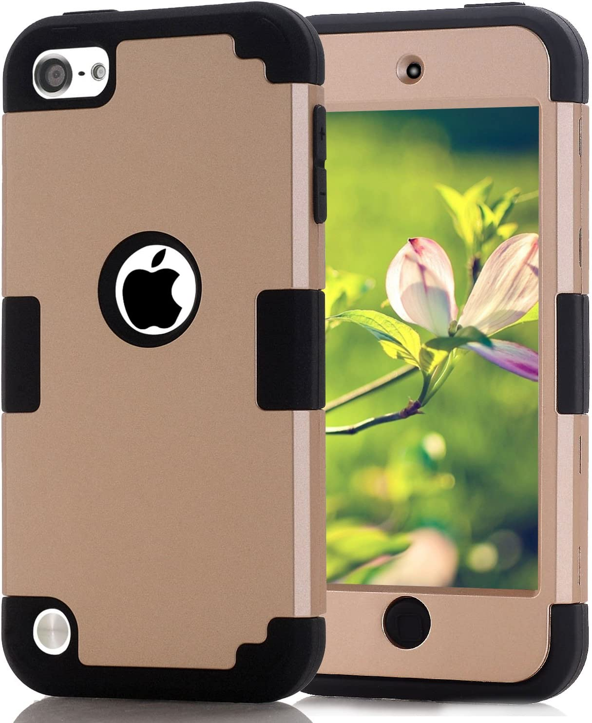 Case for iPod Touch 7th 6th Generation Case, CheerShare Dual Layer Shockproof Hard Case Cover for Apple iPod Touch 5 6th Generation Gold + Black