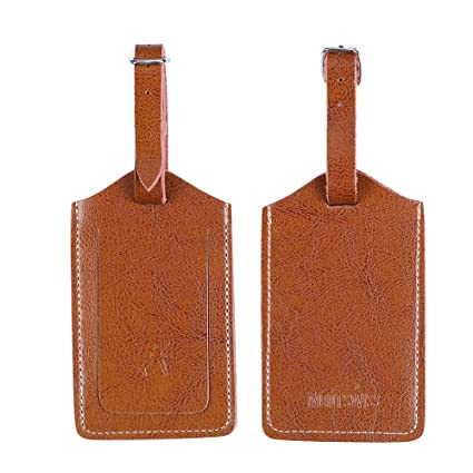 9bcba7ca4957 Genuine Leather Luggage Bag Tags 2 Pieces Set in 2 Colors Mont Swiss (Brown)