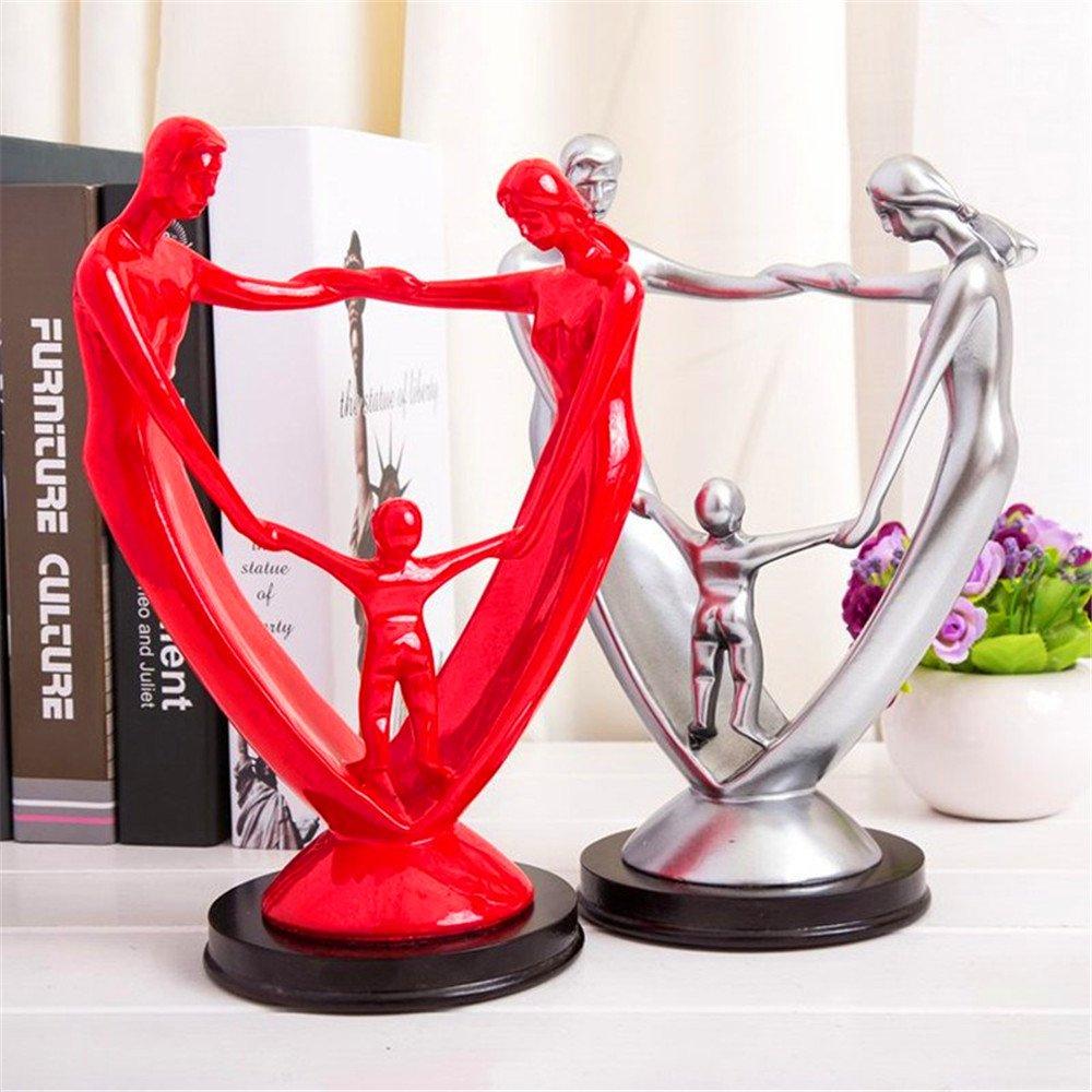 Famiglia felice Resina Persone Statue Figurine Creativo Moderna Scrivania Ornamenti Artigianato Regalo Home Office Decorazione Accessori (argento) taiyuan
