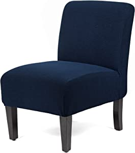 WOMACO Armless Accent Chair Slipcover Stretch Accent Slipper Chair Cover Removable Oversized Big Chair Furniture Protector Slip Cover for Home Hotel (Dark Blue, 1)