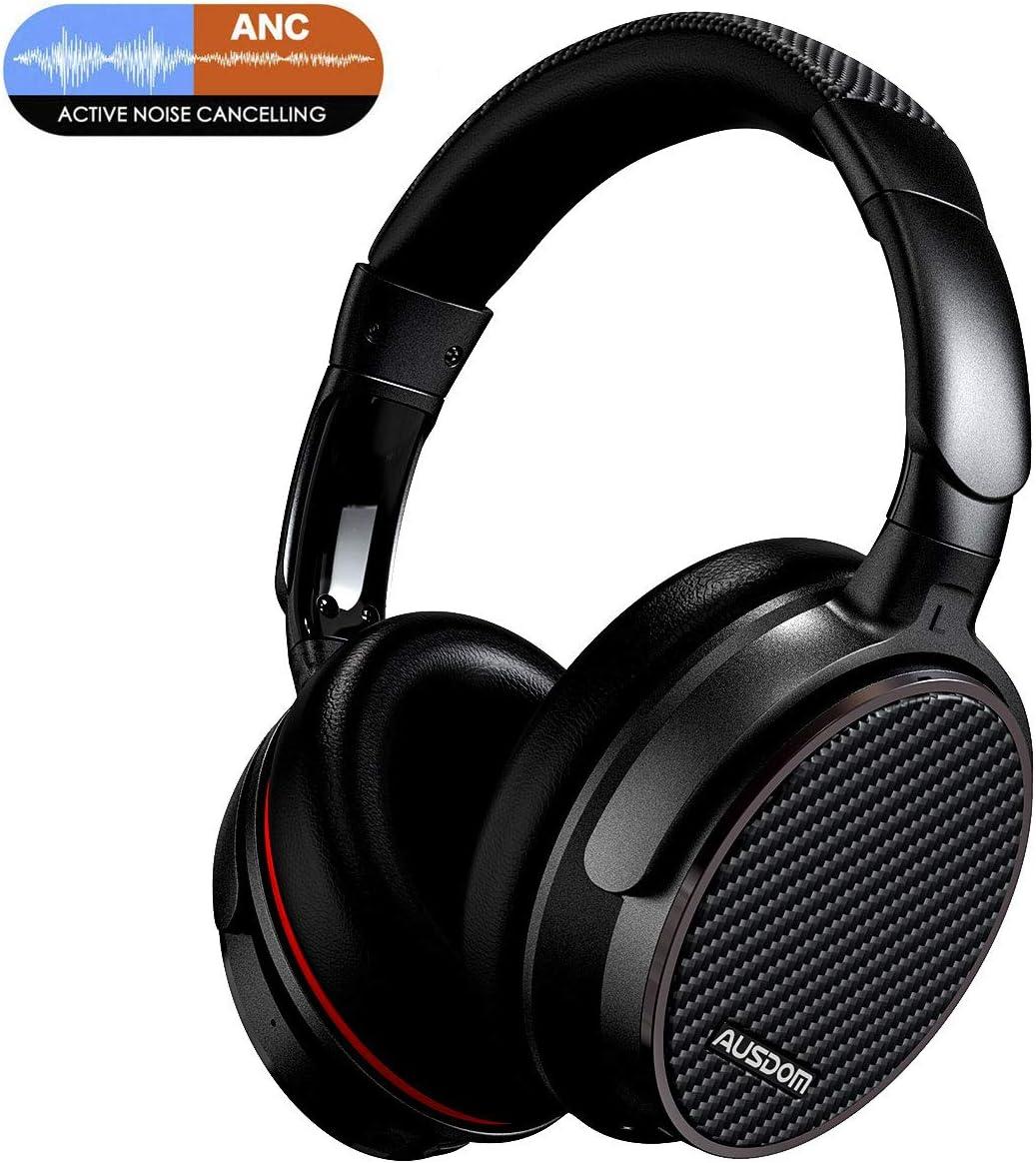 Ausdom ANC7 Auriculares Bluetooth 4.0 con cancelación de ruido activa (micrófono incorporado, batería litio recargable de 500 mAh, negro y rojo)