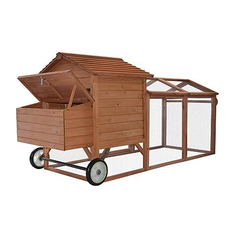 Gallinero jaula con gallinas sobre ruedas pondoir perchoir cajón ...