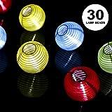 ProGreen Lanterne Guirlande, Solaire Guirlande Lumineuse 30 LED 6.5 Mètres, Décoration Intérieure et Extérieure pour Jardin, Terrasse, Cour, Maison, Arbre de Noël, Fête Party etc (Blanc Chaud)
