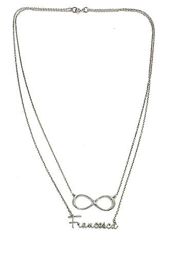 Halskette Doppel Draht in Silber 925 mit Namen Francesca und ...