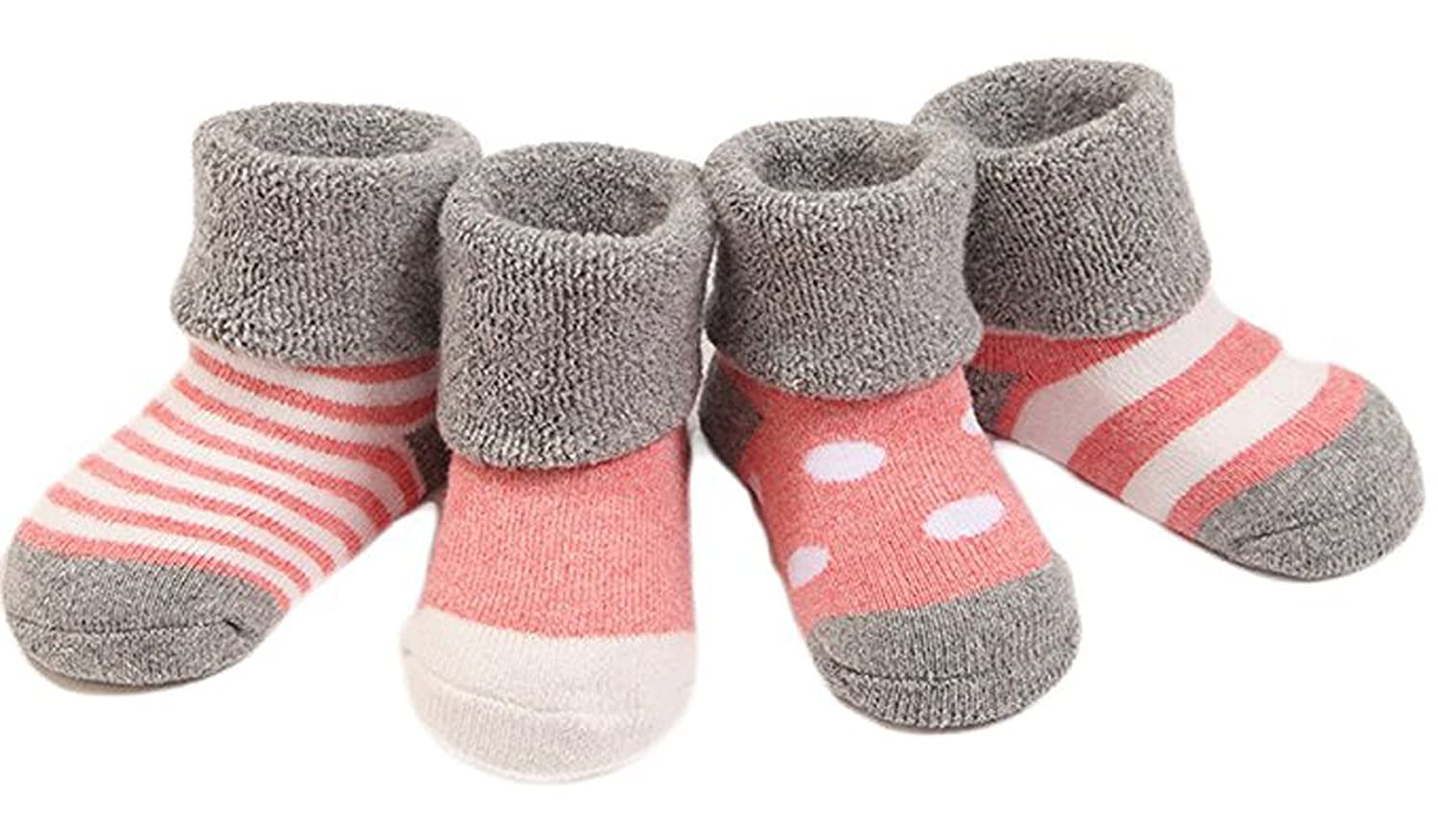 Yodosun 4 Pairs Unisex Baby Toddler Pack Thick Cotton Winter Socks