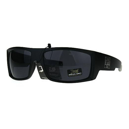 5361a66131c Amazon.com  Locs Straight Outta Cali Rectangular All Black Squared Biker  Sunglasses Matte Black  Clothing