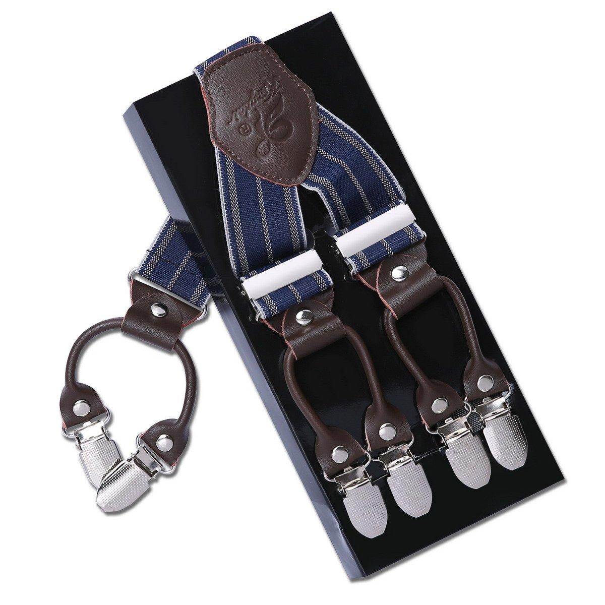 Heavy Duty Y-Shape Braces Suspenders with 6 Clip Design