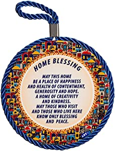 Ceramic Decoration Round Plate Wall Hanging Decor - 4.3inch/11CM Round, English Blessings for Home Jerusalem Old City Design, Evil Eye Protection, Amulet Home/Business Good Luck Charms, Home Blessing