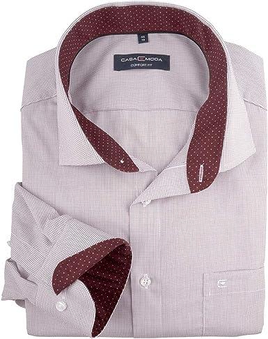 Casamoda XXL Camisa de Negocios roja Oscura-Blanca a Cuadros Finos: Amazon.es: Ropa y accesorios