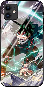 Blacklove Case for Apple iPhone, My Hero Academia Midoriya Izuku 9H Tempered Glass Back Cover with TPU Frame Protective Case (iPhone 11)