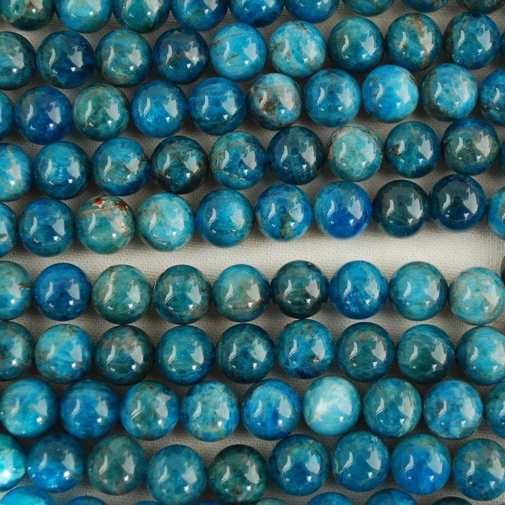 Pierre pr/écieuse de pierres semi-pr/écieuses Perles rondes 4 47-50beads Bleu//bleu sarcelle 10/mm Tailles 8mm Haute qualit/é Grade A Naturel apatite 8 Bleu sarcelle 6