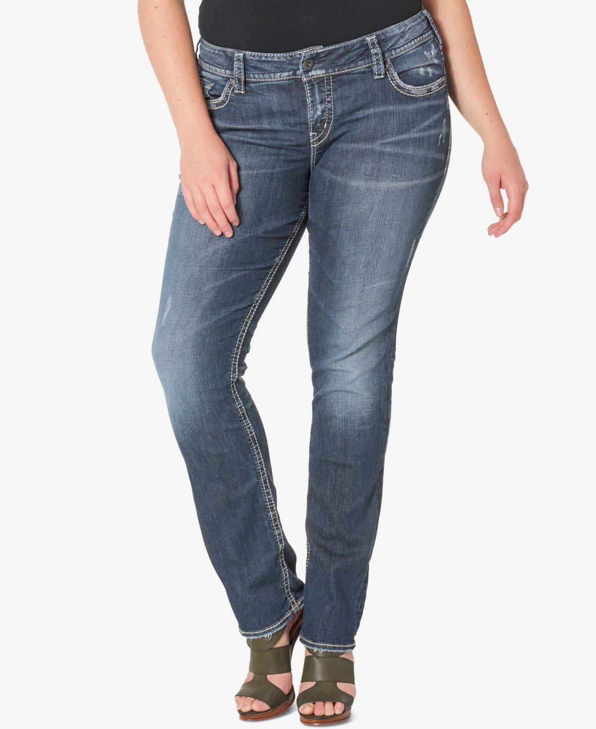 Silver Jeans Co. Women's Plus Size Suki Curvy Fit Mid Rise Straight Leg Jeans, Vintage Dark Wash with Lurex Stitch, 16x30