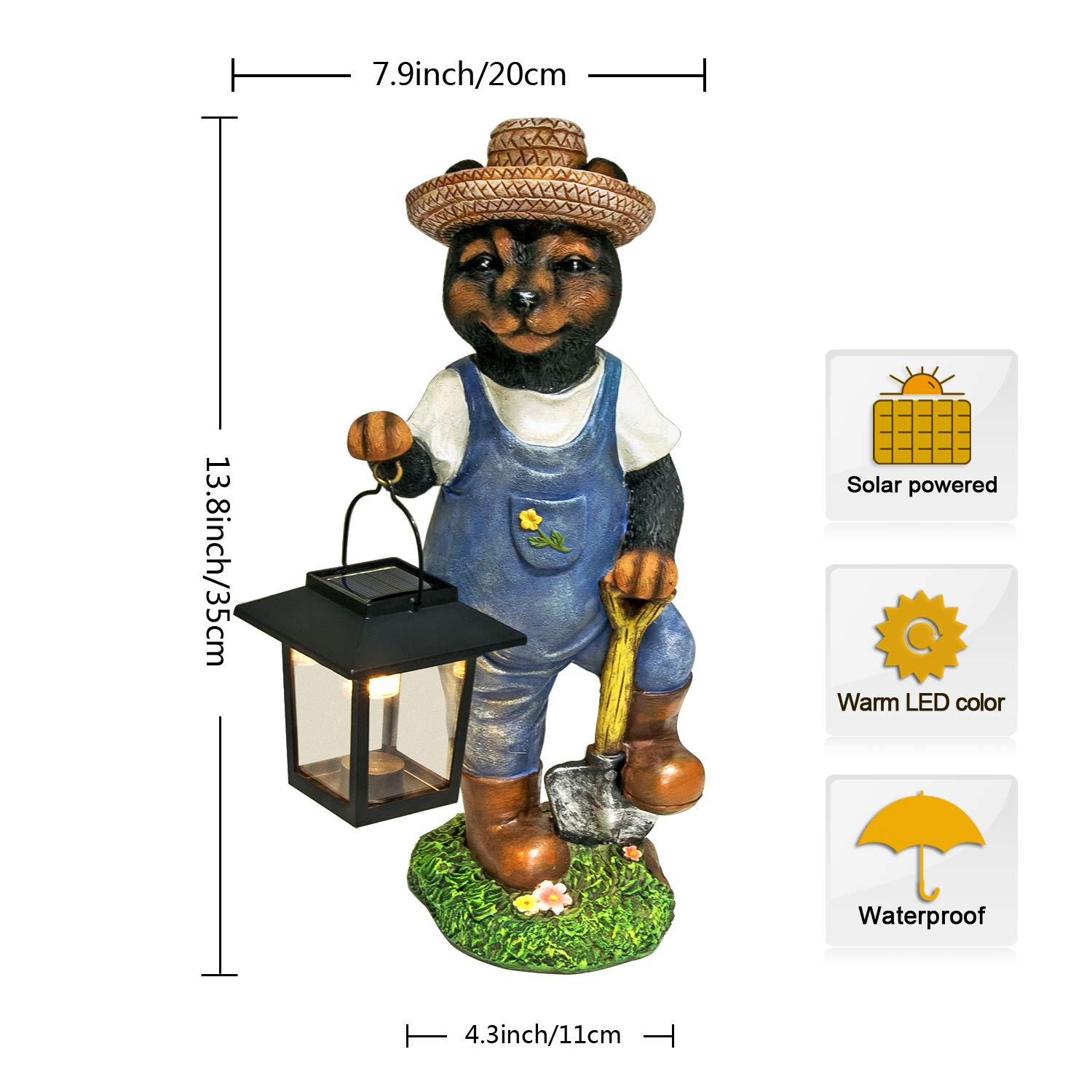Lawn Ornaments and Gardening Housewarming Gifts with Solar Animals Bear Garden Statue Bear Figurine with Solar Powered LED Lights for Outdoor Garden Yard Decoration 13.8x7.9