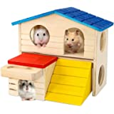 BWOGUE Pet Small Animal Hideout Hamster House Deluxe Two Layers Wooden Hut Play Toys Chews