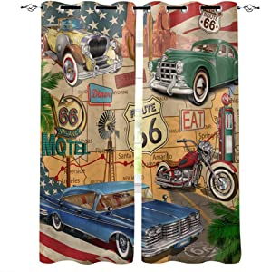 Edwiinsa Antique Car Kitchen Blackout Curtains Window Drapes Treatment, 2 Panels Set for Kitchen Cafe Office, Old Classic Car Theme American Vintage Route 66 Diner Motorcycle 80W x 63L inch