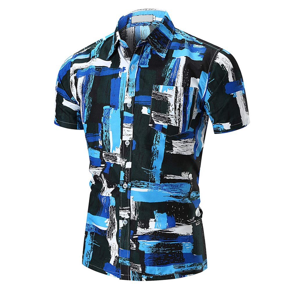 RONSHIN Men Fashion Stripe Short Sleeved Slim-fit Large Size Casual Shirt