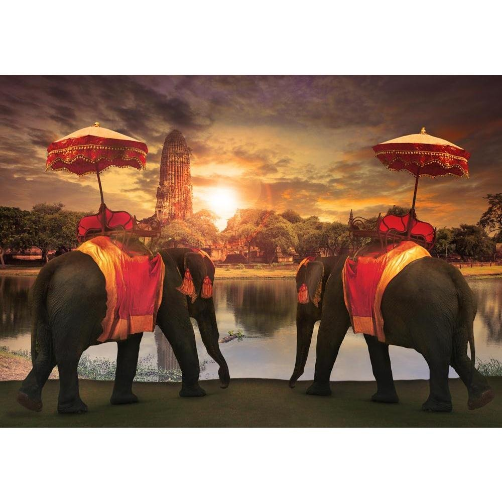 PB Thai Tradition Elephants In Old Pagoda In Ayuthaya Unframed Canvas Painting 22.8 x 16inch by Pitaara Box
