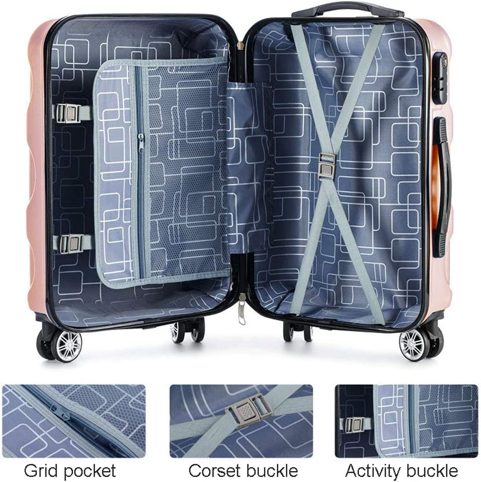 Silicone Soft Portable 360/° Mute Caster Travel Aluminum Trolley Case Abs Wear-Resistant Material Mesurn Password Suitcase