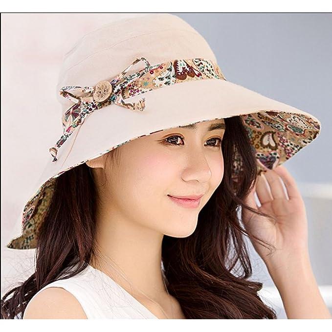 4b09a01a377ef Sheng Sombreros de Sol para Mujer de Verano de Doble Cara con Sombrero UV  Playa Sombrero Plegable Rojo (Color   Gris)  Amazon.es  Hogar