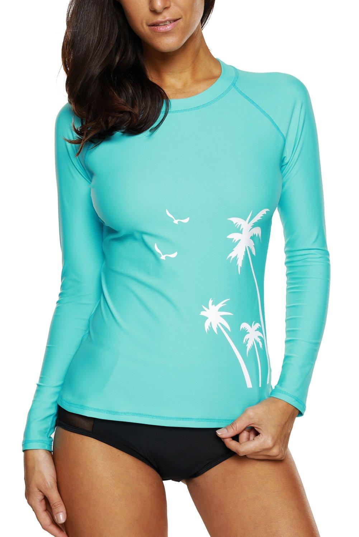 Vegatos Womens Long Sleeve Rashguard UPF 50+ Swimwear Rash Guard Athletic Tops Swimsuit L