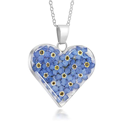 Sterling Silver Medium Heart Pendant Made With Real Forget Me Nots EeXH0