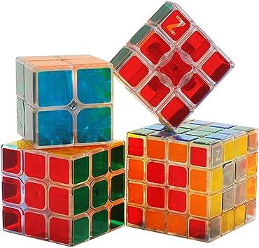 HJXDtech- Pegatinas Bastante Transparentes Cubo mágico 4 Pack Conjunto de 2x2 3x3 4x4 & 1x3x3 Cubo 3D Profesional Puzzle Velocidad de Juguetes educativos para los Adultos o los niños: Amazon.es: Juguetes y
