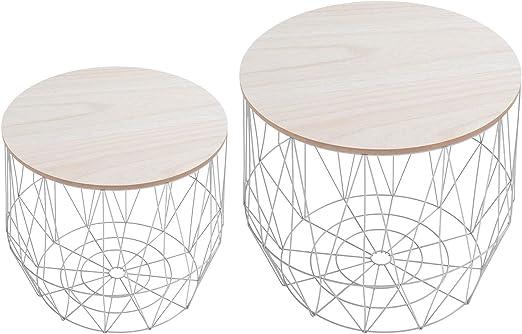 DuNord Design – Mesa auxiliar, cesta redonda de metal (Juego de 2 ...