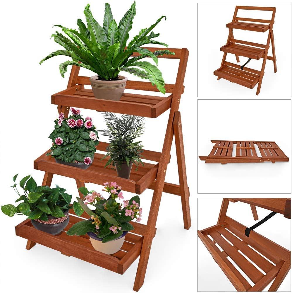 Deuba Escalera para flores con 3 baldas 79x59x56cm Madera de Acacia plegable para plantas flores estanteria balcón terraza: Amazon.es: Jardín