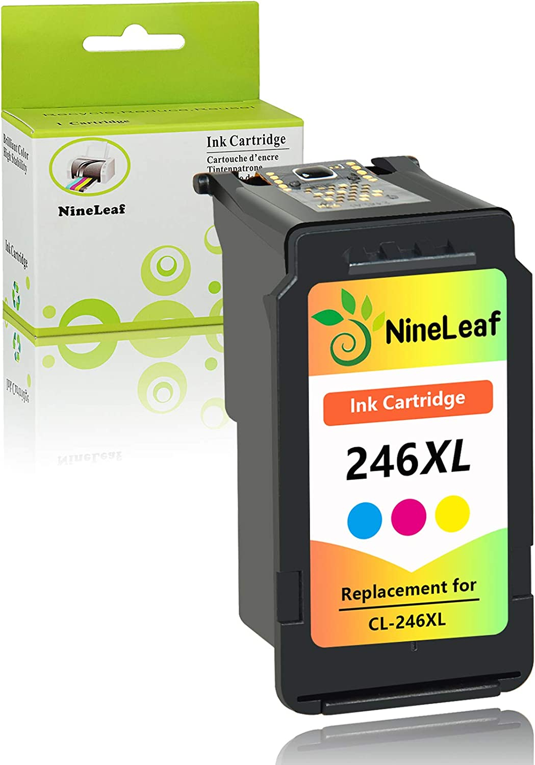 NineLeaf Remanufactured Ink Cartridge Compatible for Canon CL-246XL 246XL CL-244 use for PIXMA MX492 MX490 MG2920 MG2922 MG2420 MG2520 IP2820 (Tri-Color,1 Pack)
