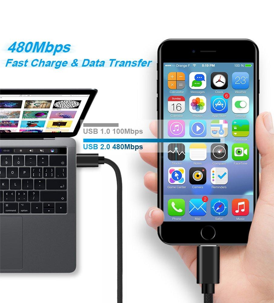 Câble USB Type C vers Lightning,Hunda [Lot de 2] 1m Câble de Donnée pour iPhone iPad Connecteur Apple Macbook 2015,Macbook pro 2016,Google Chromebook,HP Pavilion X20,Nokia N1 Tablette et plus