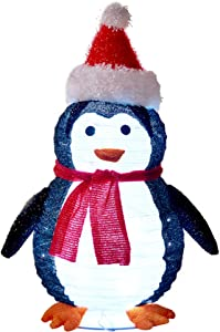 Twinkle Star 2FT Lighted Pop Up Christmas Penguin Decorations, Pre-Lit Light Up 48 LED Cool White Lights, Collapsible Easily Metal Stand Easy-Assembly Reusable for Holiday Xmas Indoor Outdoor Decor