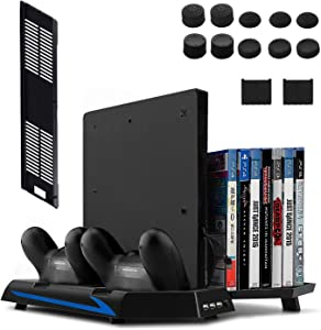 All-in-One Stand for PS4 / PS4 Slim / PS4 Pro - innoAura Vertical Stand Cooling Fan with Touch control panel + Controller Charging Station + Temperature Sensor for All PlayStation 4 Consoles (black-1)
