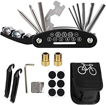 July Miracle Bike Kit de herramientas de reparación de bicicletas, 16 en 1, multifunción, para reparación mecánica de bicicleta, bolsa con herramienta de cadena y palancas de parche de neumáticos: Amazon.es: Bricolaje
