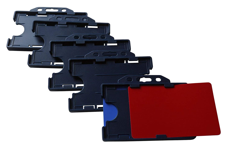 5 x Ausweis-Yoyos mit Kartenhalter für 2 Karten aus Hartplastik im Hochformat