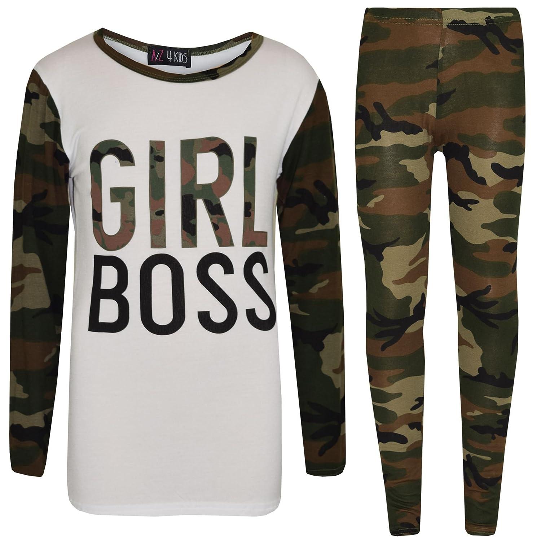 Girls Tops Kids Girl Boss Camouflage Print T Shirt Top & Legging Set 7-13 Years
