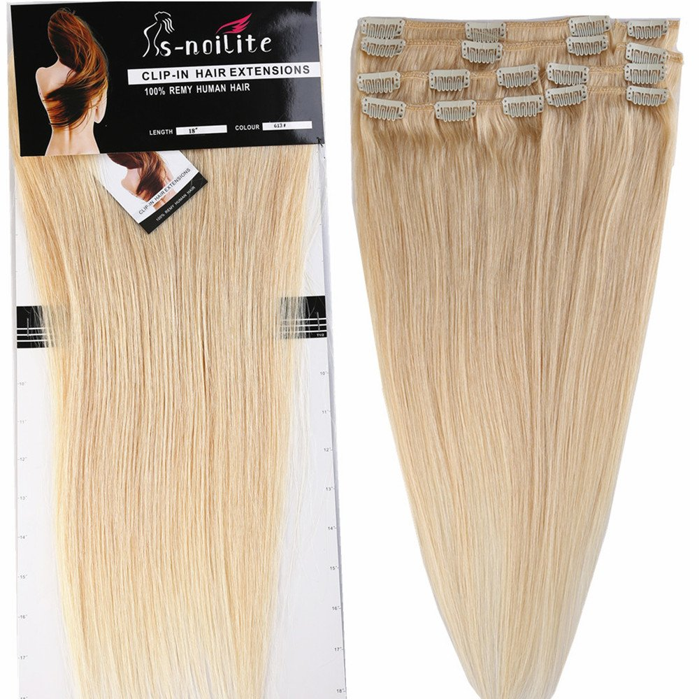 Clip In 100 Real Remy Human Hair Extensions Silky Straight Full