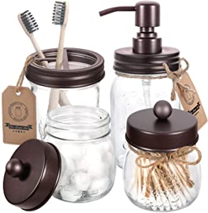 AOZITA Mason Jar Bathroom Accessories Set 4 Pcs - Mason Jar Soap Dispenser & 2 Apothecary Jars & Toothbrush Holder - Rustic Farmhouse Decor Bathroom Countertop, Vanity Organize, Bronze