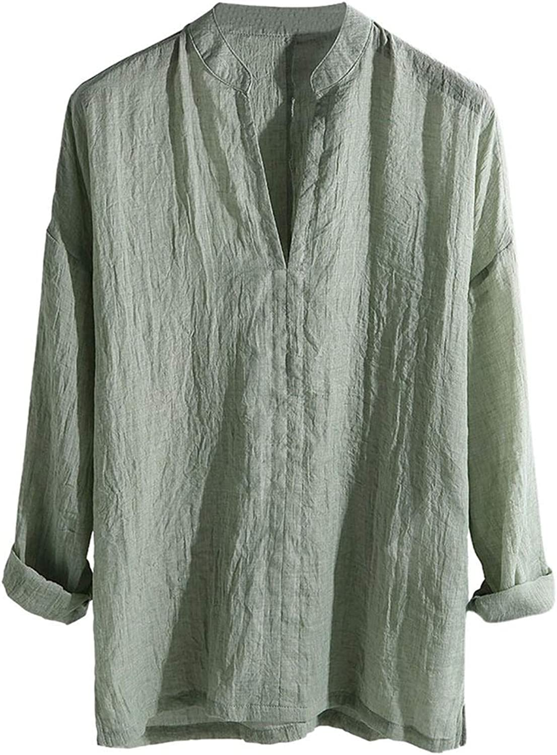 FULLINE Men's Casual Shirt Breathable Long Sleeve Loose Solid Color V Neck Top Blouse,Green,L