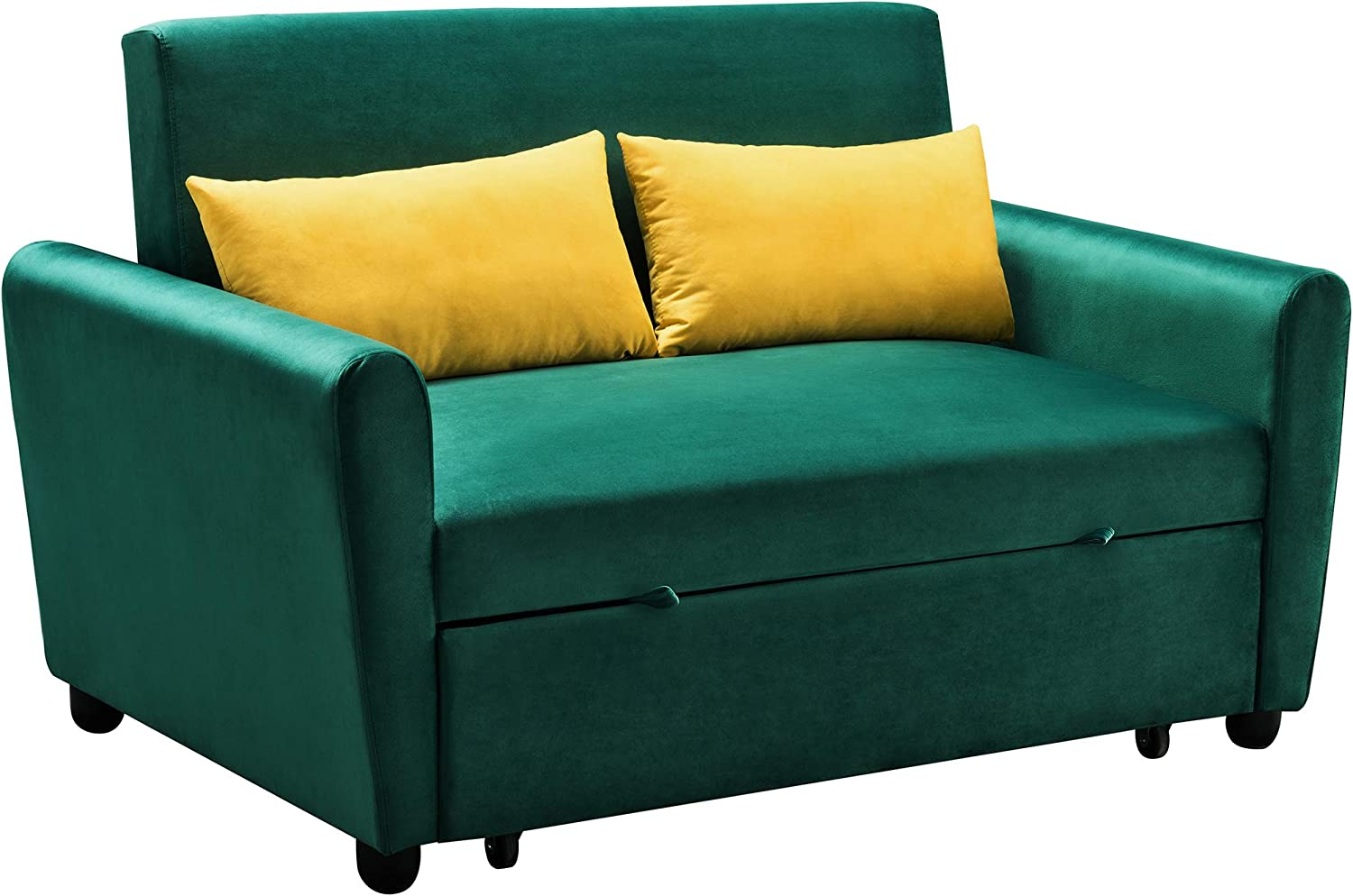 Merax Sleeper Couch, Small Velvet Sofa for Living Room or Bedroom, Including Pull Out Bed Sofabed, Compact, Green