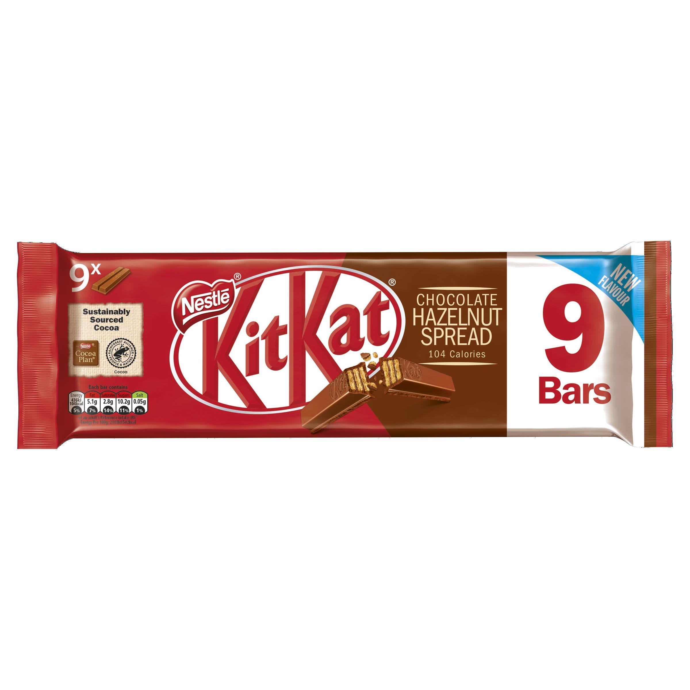 KitKat 2 Finger Hazlenut Milk Chocolate Biscuit Bar Multipack, 9 x 20.7 g