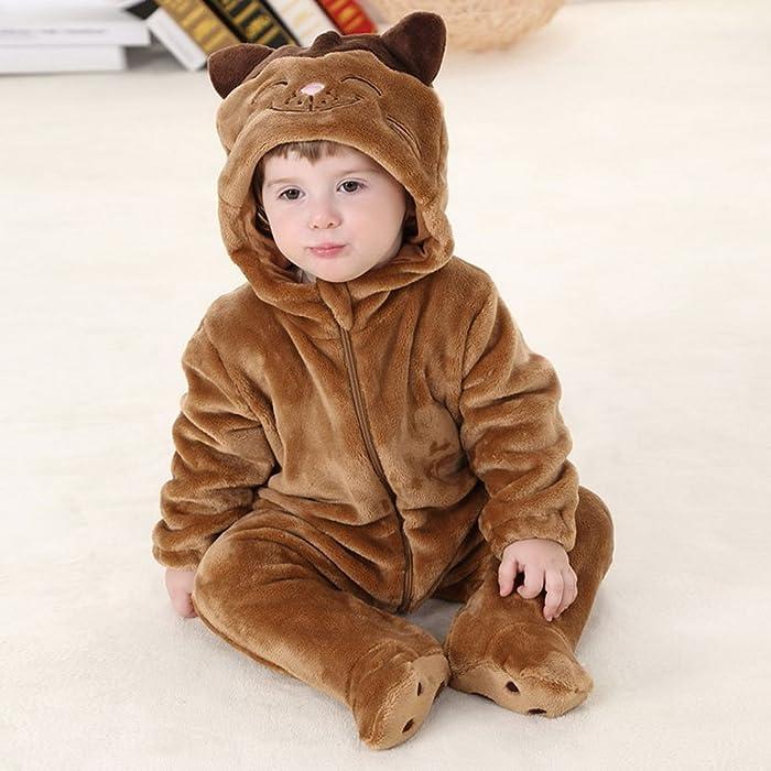 84304d9f26919 Vêtement Combinaison Enfant Bébé Pyjama Grenouillère Hiver Chaud Forme  Animal Déguisement Chat Kaki 6-12 Mois. La Vogue Vêtement Combinaison  Enfant Bébé ...