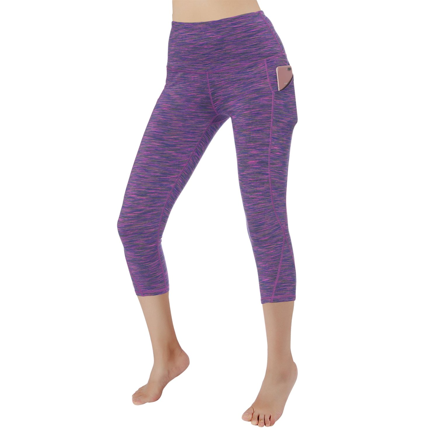 Purple Grey RURING Women's High Waist Yoga Pants Tummy Control 4 Way Stretch Running Pants Workout Leggings